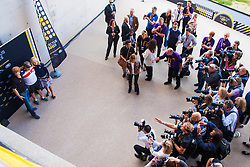 Queen Elizabeth Olympic Park, London. September 13th 2014. Prince harry poses for the media with US competitor Technical Sergeant Israel Del Toro as wounded servicemen and women from 13 different countries compete for sporting glory during the cycling competition at the Invictus Games.