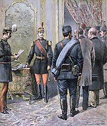 Aleksander Obrenovic (1875-1903) Alexander I of Serbia from 1889.  Alexander aged 17 arresting his Regents and declaring himself of age. From 'Le Petit Journal', Paris, 6 May 1893.  South-eastern Europe, Balkans