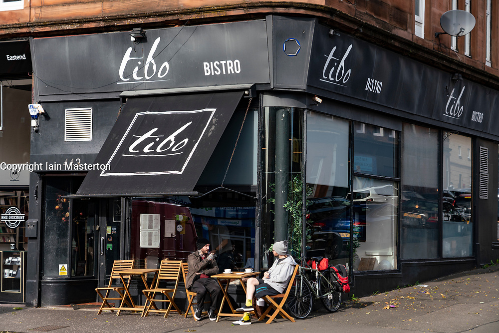 Glasgow, Scotland, UK. 7 October 2020. Time Out magazine has named Dennistoun in the East End of Glasgow as one of the world's coolest districts. Pictured; Tibo Cafe on Duke Street,.  Iain Masterton/Alamy Live News