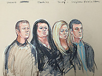 Hatton Garden heists.<br /> Court Appearance 4th Sept.<br /> Here Perkins's daughters Laura Perkins, 40, and Terri Robinson, 35, and their husbands Brenn Walters, also known as Ben Perkins, 43, and Steven Robinson, 46, all of Enfield.<br /> They were accused of conspiracy to convert or transfer criminal property between January 1 and May 19 this year.