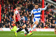 Queens Park Rangers Midfielder Jordan Cousins (8) and Brentford Forward Neal Maupay (9) battle for the ball during the EFL Sky Bet Championship match between Brentford and Queens Park Rangers at Griffin Park, London, England on 2 March 2019.