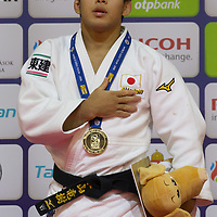 Ryuju Nagayama of Japan celebrates his victory during an awards ceremony after the Men -60 kg category at the Judo Grand Prix Budapest 2018 international judo tournament held in Budapest, Hungary on Aug. 10, 2018. ATTILA VOLGYI