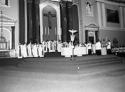 Funeral Of Frank Duff.   (N50)..1980..13.11.1980..11.13.1980..13th November 1980..The Solemn Funeral Mass for Frank Duff, founder of The Legion of Mary,was concelebrated with his Eminence,Cardinal Tómas O'Fiaich,Archbishop of Armagh and Primate of All Ireland as principal celebrant, at St Andrew's Church, Westland Row,Dublin. The funeral took place after the mass to Glasnevin Cemetery..A view of the altar as Cardinal O'Fiaich conducts the mass.