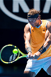 January 14, 2019 - Melbourne, VIC, U.S. - MELBOURNE, AUSTRALIA - JANUARY 14 : Rafael Nadal of ÊSpain returns the ball during day 1 of the Australian Open on January 14 2019, at Melbourne Park in Melbourne, Australia.(Photo by Jason Heidrich/Icon Sportswire) (Credit Image: © Jason Heidrich/Icon SMI via ZUMA Press)