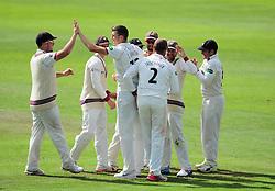 Craig Overton of Somerset celebrates the wicket of Scott Borthwick with teammates.  - Mandatory by-line: Alex Davidson/JMP - 05/08/2016 - CRICKET - The Cooper Associates County Ground - Taunton, United Kingdom - Somerset v Durham - County Championship - Day 2