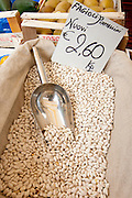 Dried beans, fagioli Piattellini Nuovi, on sale at weekly street market in Panzano-in-Chianti, Tuscany, Italy