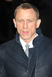 © Licensed to London News Pictures. 12/12/2011. London, England.Daniel Craig attends the world premiere of The Girl With The Dragon Tattoothe first film in the three-picture adaptation of Stieg Larsson's literary blockbuster The Millennium Trilogy.  Directed by David Fincher and starring Daniel Craig and Rooney Mara  in Liecester Square London .  Photo credit : ALAN ROXBOROUGH/LNP