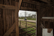 Bill Dragoo rides past an opening in an old barn situated on Oklahoma State Highway 20 north of Spavinaw.