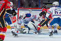 PENTICTON, CANADA - SEPTEMBER 8: Dylan Wells #30 of Edmonton Oilers defends the net against the Calgary Flames on September 8, 2017 at the South Okanagan Event Centre in Penticton, British Columbia, Canada.  (Photo by Marissa Baecker/Shoot the Breeze)  *** Local Caption ***