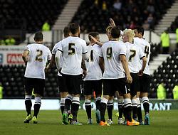 Derby County celebrate Derby County's Andreas Weimann's goal - Mandatory by-line: Robbie Stephenson/JMP - 07966386802 - 29/07/2015 - SPORT - FOOTBALL - Derby,England - iPro Stadium - Derby County v Villarreal CF - Pre-Season Friendly