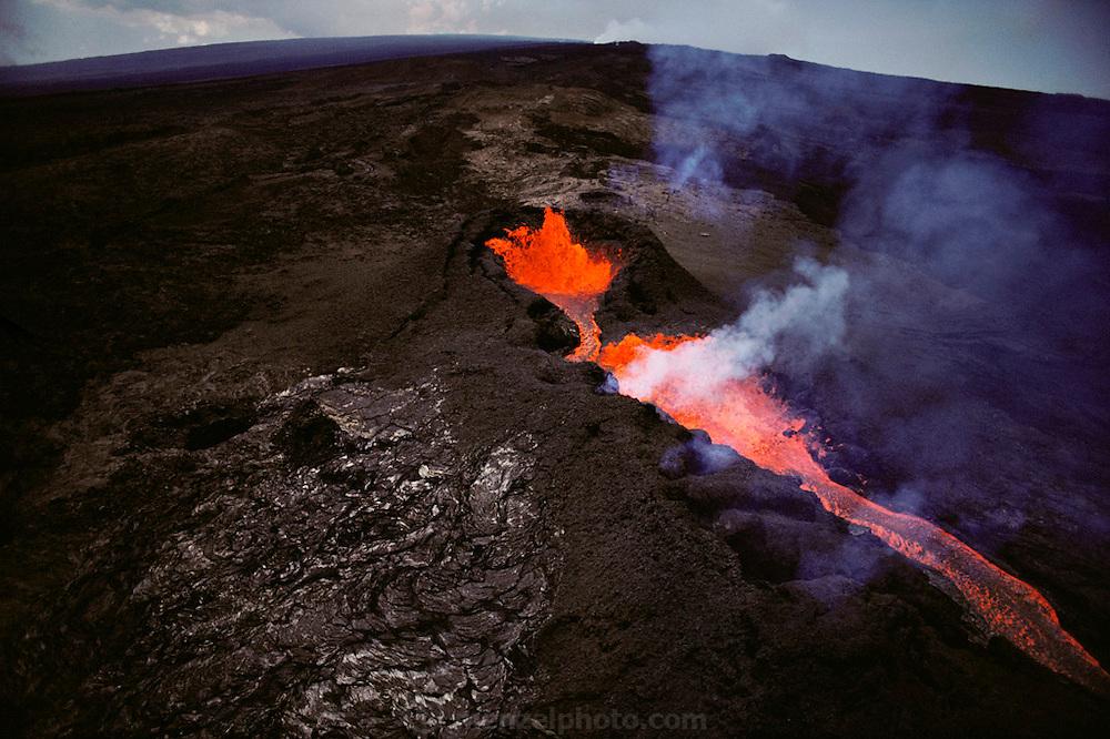 Lava flow on Mauna Loa, Big Island, Hawaii. USA