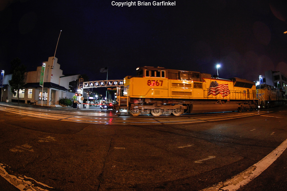 A Union Pacific Train passes though Jack London Square on Monday July 16th 2012 in Oakland, California. (Photo By Brian Garfinkel)