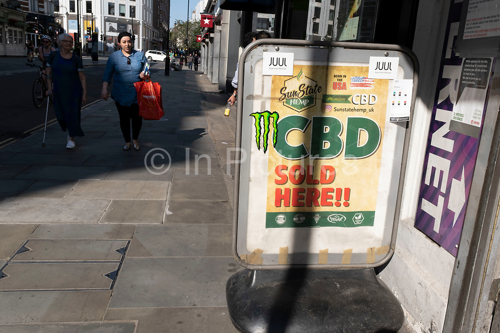 CBD oil for sale on 25th June 2020 in London, United Kingdom. Cannabidiol is a phytocannabinoid discovered in 1940. It is one of 113 identified cannabinoids in cannabis plants and accounts for up to 40% of the plants extract.