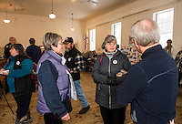"""Judy Rich, Anne Howe and Dick Gardener wearing their """"I Voted"""" stickers at the Sanbornton Town Hall during the NH Primary on Tuesday morning.  (Karen Bobotas/for the Laconia Daily Sun)"""