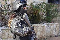 Women members of an anti-terrorism unit are seen in the Kurdish city of Efrin, north of Aleppo, Syria on January 29, 2017, as they protect a celebration in the self-ruled Kurdish city. Many Kurdish groups have trained women as part of the combat units in various cities in Northern Syria and Iraq. Photo by M. Billo/Balkis Press/ABACAPRESS.COM