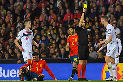 March 23, 2019 - Valencia, SPAIN - 190323 Kristoffer Ajer of Norway receives a yellow card during the UEFA Euro Qualifier football match between Spain and Norway on March 23, 2019 in Valencia..Photo: Fredrik Varfjell / BILDBYRÃ…N / kod FV / 150220 (Credit Image: © Fredrik Varfjell/Bildbyran via ZUMA Press)