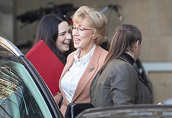 © Licensed to London News Pictures. 14/02/2019. London, UK. Leader of the House of Commons Andrea Leadsom shares a joke with her staff as she arrives at Parliament ahead of a Brexit vote in the House of Commons later today. Photo credit: Peter Macdiarmid/LNP