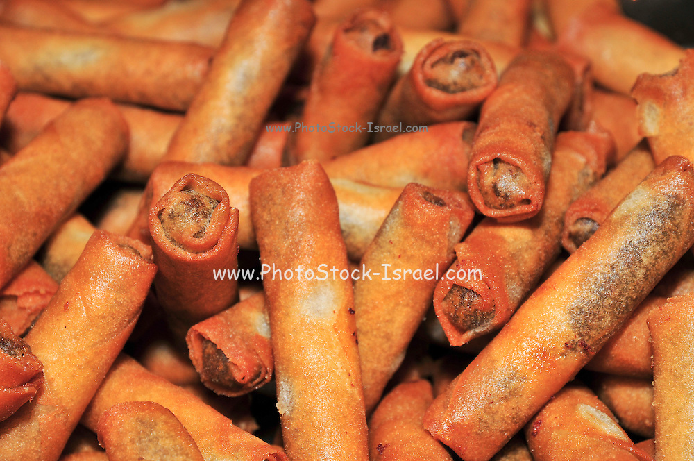 Moroccan Cigars - deep fried rolls of pastry filled with minced meat and spices