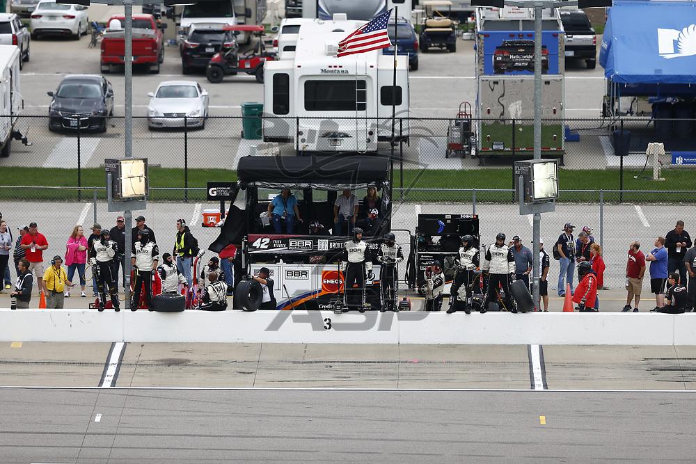 October 21, 2017 - Kansas City, Kansas, USA: Tyler Reddick (42) comes down for service during the Kansas Lottery 300 at Kansas Speedway in Kansas City, Kansas.