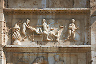 Sculpture of the Last Judgement, doom day,  on the 12th century Romanesque facade of the Chiesa di San Pietro extra moenia (St Peters), Spoletto, Italy .<br /> <br /> Visit our ROMANESQUE SCULPTURE PHOTO COLLECTION for more   photos  to download or buy as prints https://funkystock.photoshelter.com/gallery/Romanesque-Statue-Sculptures-Pictures-Images/G0000ezFHYeF_xRI/C0000YpKXiAHnG2k<br /> If you prefer to buy from our ALAMY PHOTO LIBRARY  Collection visit : https://www.alamy.com/portfolio/paul-williams-funkystock/pietro-extra-moenia-spoleto.html .<br /> <br /> Visit our MEDIEVAL PHOTO COLLECTIONS for more   photos  to download or buy as prints https://funkystock.photoshelter.com/gallery-collection/Medieval-Middle-Ages-Historic-Places-Arcaeological-Sites-Pictures-Images-of/C0000B5ZA54_WD0s