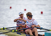 """Glasgow, Scotland, """"2nd August 2018"""", Swiss men's Double Scull, SUI M2X, """"Left Nico STAHLBERG"""", and """"Right Barnabe DELARZE"""", """"Fist Bump"""", before the heat of their Double Sculls, at the,  """"European Games, Rowing"""", Strathclyde Park, North Lanarkshire,  © Peter SPURRIER/Alamy Live News"""
