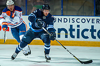 PENTICTON, CANADA - SEPTEMBER 9: Antoine Crete-Belzile #72 of Winnipeg Jets passes the puck against the Edmonton Oilers on September 9, 2017 at the South Okanagan Event Centre in Penticton, British Columbia, Canada.  (Photo by Marissa Baecker/Shoot the Breeze)  *** Local Caption ***