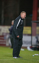Falkirk's manager Gary Holt at the end.<br /> Dundee 1 v 1 Falkirk, Scottish Championship game at Dundee's home ground Dens Park.<br /> ©Michael Schofield.