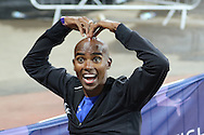 Mo Farah of Great Britain after the 3000m during the Sainsbury's Anniversary Games at the Queen Elizabeth II Olympic Park, London, United Kingdom on 24 July 2015. Photo by Ellie Hoad.