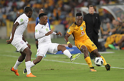 21042018 (Durban) Chiefs player Sinethemba Jantie tackle with Stars Player Nyiko Mobbie when Kaizer Chiefs takes on Free State Stars in the first Semi-Final at the Moses Mabhida Stadium On Saturday evening. FreeState let the way with a lead of 2-0 before halftime<br /> Picture: Motshwari Mofokeng/ANA