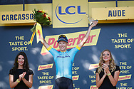 Podium, Hotess, miss, Magnus Cort Nielsen (DEN - Astana Pro Team) winner, during the 105th Tour de France 2018, Stage 15, Millau - Carcassonne (181,5 km) on July 22th, 2018 - Photo Luca Bettini / BettiniPhoto / ProSportsImages / DPPI