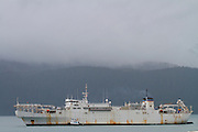 U.S. Naval Ship Zeus, Resurrection Bay, Seward, Alaska.  USNS Zeus (T-ARC-7) was the first cable ship specifically built for the United States Navy,