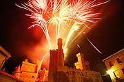 Feast day fireworks over the castle of Olite, Navarra, Spain.