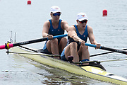 Poznan, POLAND, 21st June 2019, Friday, Morning Heats, USA. W2-/2 (b) BAKER Allyson and (s) HUELSKAMP Emily, FISA World Rowing Cup II, Malta Lake Course, © Peter SPURRIER/Intersport Images,<br /> <br /> 10:14:00