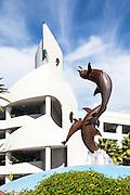 Rainbow Riders Dolphin Water Fountain At Long Beach Aquarium