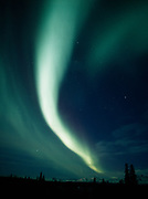 Beautiful display of northern lights arcing over the Alaska Range including Mount McKinley or Denali with the Chulitna River in the foreground, Denali State Park, Alaska.