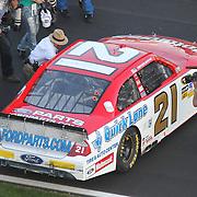 Jack Roush congratulates Trevor Bayne after winning the Daytona 500 Sprint Cup race at Daytona International Speedway on February 20, 2011 in Daytona Beach, Florida. (AP Photo/Alex Menendez)