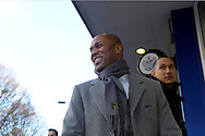 Les Ferdinand, Head of Football Operations smiles as he arrives at Loftus Road Stadium before k/o. Barclays Premier league match, Queens Park Rangers v Manchester Utd at Loftus Road in London on Saturday 17th Jan 2015. pic by John Patrick Fletcher, Andrew Orchard sports photography.