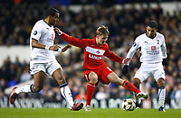 Tottenham's Tom Huddlestone Tottenham's Aaron Lennon. Maksim Grigoriev of FC Spartak MoscowTottenham Hotspur Vs Spartak Moscow at White Hart Lane London UEFA Cup Group D. 18/12/2008. <br /> Credit Colorsport / Kieran Galvin