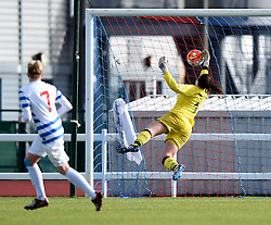 Hannah Reid goalkeeper for Bristol City Women is defeated by a QPR ball - Mandatory by-line: Paul Knight/JMP - Mobile: 07966 386802 - 14/02/2016 -  FOOTBALL - Stoke Gifford Stadium - Bristol, England -  Bristol Academy Women v QPR Ladies - FA Cup third round