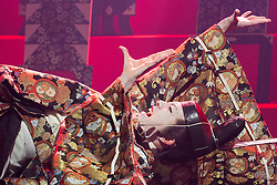 © Licensed to London News Pictures. 21/05/2015. London, UK. Pictured: Kazuaki Takeda as Player King. The Ninagawa Company returns to the Barbican and perform Hamlet by Shakespeare under the direction of Yukio Ninagawa. With Tatsuya Fujiwara as Hamlet. Performances in Japanese with English surtitles from 21 to 24 May 2015. Photo credit : Bettina Strenske/LNP