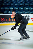 KELOWNA, CANADA - APRIL 8: Kelowna Rockets' head coach Jason Smith skates with the puck during game day skate against the Portland Winterhawks on April 8, 2017 at Prospera Place in Kelowna, British Columbia, Canada.  (Photo by Marissa Baecker/Shoot the Breeze)  *** Local Caption ***