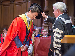 Prime Minister Justin Trudeau receives a honorary degree from from Vice-Chancellor Timothy O'Shea during the convocation ceremony at the University of Edinburgh Wednesday, July 5, 2017 in Edinburgh. Photo by Ryan Remiorz/The Canadian Press/ABACAPRESS.COM