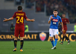 October 14, 2017 - Rome, Italy - Jorginho of Napoli reclaiming with Alessandro Florenzi of Roma after a tackle during the Italian Serie A football match AS Roma vs Napoli at the Olympic Stadium in Rome, on October 14, 2017. (Credit Image: © Matteo Ciambelli/NurPhoto via ZUMA Press)