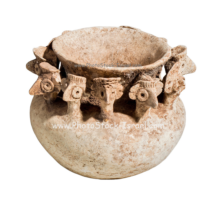 A Syro-Hittite terra-cotta bowl decorated with 12 heads 2nd millennium BC