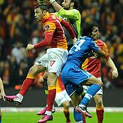 Galatasaray's Burak Yilmaz (L) during their Turkish Super League soccer match Galatasaray between MP Antalyaspor at the TT Arena Stadium at Seyrantepe in Istanbul Turkey on Sunday 10 February 2013. Photo by TURKPIX