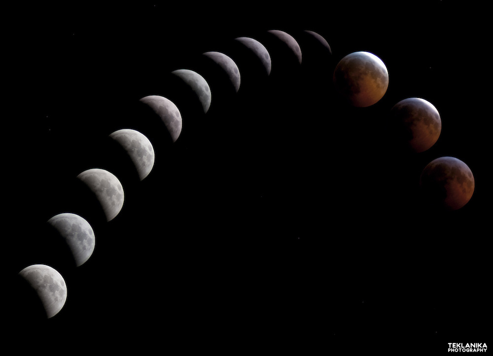 Time lapse composite photo of the moon during a lunar eclipse.