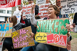 © Licensed to London News Pictures. 04/10/2018. London, UK. Supporters of striking fast food workers join a rally in Leicester Square as part of strike action over pay. UberEats, JD Wetherspoon, McDonald's and TGI Fridays workers are among those taking part. Photo credit: Rob Pinney/LNP