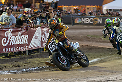 AMA flattracker (no. 23) Jeffrey Carver on his Indian FTR750r racer in the AMA Flat track racing at the Sturgis Buffalo Chip during the Sturgis Black Hills Motorcycle Rally. Sturgis, SD, USA. Sunday, August 4, 2019. Photography ©2019 Michael Lichter.