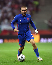 """File photo dated 08-09-2021 of England's Luke Shaw during the 2022 FIFA World Cup Qualifying match at PGE Narodowy Stadium, Warsaw. Luke Shaw insists England will come back better next month after a poor performance against Hungary - with the full-back bemoaning the """"soft"""" penalty he conceded in the 1-1 draw. Issue date: Wednesday October 13, 2021."""