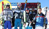 Alpint<br /> FIS Europa Cup<br /> Foto: Gepa/Digitalsport<br /> NORWAY ONLY<br /> <br /> SOELDEN,AUSTRIA,10.DEC.15 - ALPINE SKIING - FIS Europa Cup, Rettenbachferner, Super G, men, award ceremony. Image shows Michelangelo Tentori (ITA), Christopher Neumayer (AUT), Bjørnar Neteland (NOR), Christian Walder (AUT) and Guglielmo Bosca (ITA).